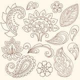Hennastrauch Mehndi Blumen und Paisley-Vektor Stockbild
