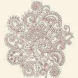 Hennastrauch Mehndi Paisley Gekritzel-Reben und Blumen Stockfotos