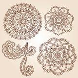 Hennastrauch-Tätowierung-Blumen-Mandala-Gekritzel-vektorauslegungen Stockfotografie