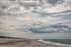 Henne Beach at the Danish North Sea coast on a cloudy day. Henne Beach at the Danish North Sea coast on a cloudy  day stock photography