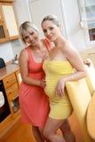 henne gravid systerkvinna royaltyfria foton