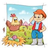 Henne im Bauernhof Stockbilder