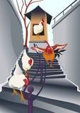 Henne im Treppenhaus Stockbild