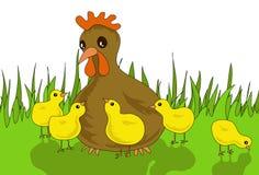 Henne mit Hühnern Lizenzfreie Stockfotos