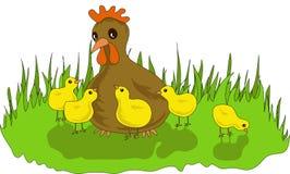 Henne mit Hühnern Lizenzfreies Stockbild