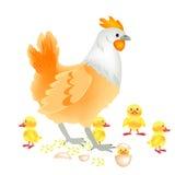 Henne mit neugeborenem Nestling Stockbild