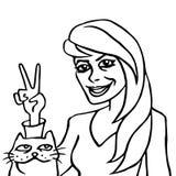 Henne och hennes kattvektorillustration Arkivfoto