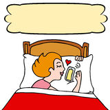 henne sova kvinna för telefon vektor illustrationer