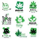 Hennep en marihuanaillustratie, embleem Stock Afbeeldingen