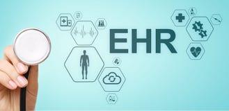 HENNES elektroniska vård- för automationsystem för rekord EMR medicinska begrepp för internet för medicin Manipulera med stetosko vektor illustrationer