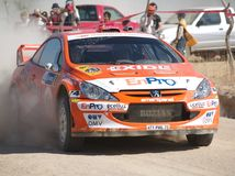 Henning Solberg, Peugeot 307WRC. Henning Solberg with Peugeot 307 WRC in Rally Mexico Royalty Free Stock Photo