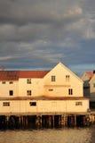 Henningsvaer  buildings enlighted by midnightsun Stock Image