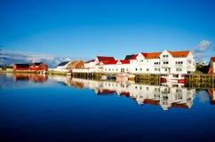 Henningsvaer Lofoten, Norway. White houses with red roofs in Henningsvaer, Lofoten Stock Photos