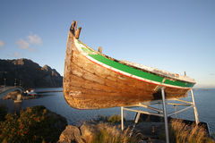 Henningsvaer in Lofoten's boat on sunset Royalty Free Stock Photography