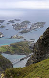 Henningsvaer from a mountain top on a rainy day. Panorama of Henningsvaer, fishing village on Lofoten islands, Norway Stock Image
