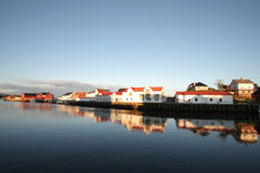 Henningsvaer's end of summer's mirrors Royalty Free Stock Photo