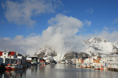 The Henningsvaers harbour. The harbour of Henningsvaer, seen from the Moloen stock photos