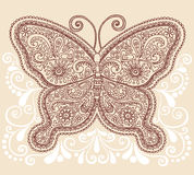 Henny Mehndi Paisley Motyli Doodle Projekt Obrazy Royalty Free