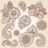 Henny Mehndi tatuażu Paisley Doodles Wektorowi Obrazy Stock