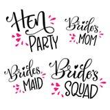 HenParty - el pelotón de la novia - la mamá de la novia - dama de honor - caligrafía y letras modernas para las tarjetas, impr stock de ilustración