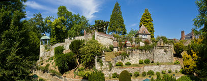 Henri Le Sidaner -  Garden Panorama. In the little medieval town of Gerberoy (France), there are the gardens of the french painter Henri Le Sidaner Royalty Free Stock Photography