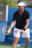 Henri Leconte. At the ATP Champions Tournament in Knokke Belgium at 19 August 2011. Leconte has won 9 Int. Tournaments single, and 10 Int. Tournaments double Stock Image