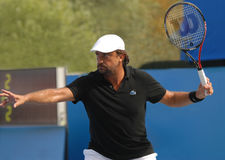 Henri Leconte. At the ATP Champions Tour in Knokke Belgium on 19 August 2011. Henri has won 9 Int. Tournaments single and 10 Int. Tournaments double. He was Royalty Free Stock Photo