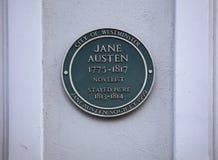 Henrietta Street, Covent Garden, London, UK, February 7th 2019, Green plaque to commemorate Jane Austen royalty free stock image