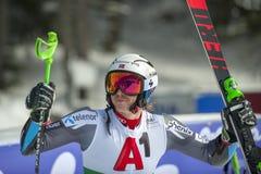 Henrik Kristoffersen. BANSKO, BULGARIA - FEBRUARY 24 : Henrik Kristoffersen NOR takes 1st place at the Audi FIS Alpine Ski World Cup Men`s Giant Slalom on stock photography
