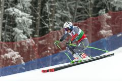 Henrik Kristoffersen. BANSKO, BULGARIA - FEBRUARY 24: Henrik Kristoffersen NOR takes 1 st place at the Audi FIS Alpine Ski World Cup Men`s Giant Slalom on royalty free stock photo