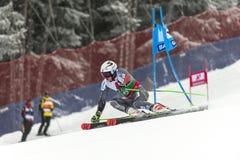 Henrik Kristoffersen. BANSKO, BULGARIA - FEBRUARY 24: Henrik Kristoffersen NOR takes 1 st place at the Audi FIS Alpine Ski World Cup Men`s Giant Slalom on royalty free stock image