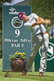 Henrik Stenson - 9th Tee. Henrik Stenson strikes the ball on the 9th Tee - 596 yards, 545 meters, Par 5 Royalty Free Stock Image