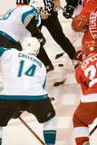 Henrik Zetterberg Faces Off Against Joe Thornton Royalty Free Stock Photos