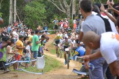 Henrique Avancini, Brazilian UCI MTB XCC World Champion in 2018 and people watching royalty free stock photo