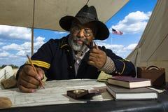 Henry Crawford reenacts obowiązki Bawoli żołnierza sierżant zdjęcie royalty free