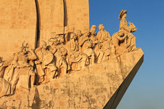 Henry the discoverer. Detail of the Monument to the Discoveries at sunset in Lisbon, Portugal Royalty Free Stock Photos