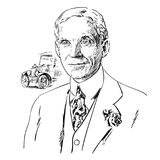 Henry Ford. Hand drawn portrait. Black and white vector illustration Royalty Free Stock Photo