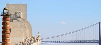 Henry het Monument van de Navigator en de brug, Lissabon Stock Afbeelding