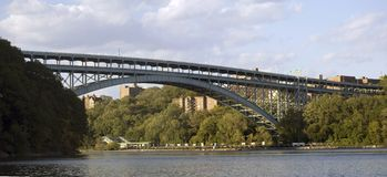 Henry Hudson Bridge. The Henry Hudson Bridge connects the Spuyten Duyvil section of The Bronx with the northern end of Manhattan to the south in New York Royalty Free Stock Photos