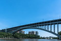 Henry Hudson Bridge over the Harlem River, Manhattan. Manhattan,New York City,USA - June 30, 2018 : View of the Henry Hudson Bridge from the Harlem River stock photo
