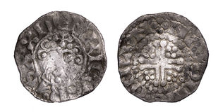Henry III short cross penny obverse and reverse Stock Photos