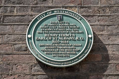 Henry Jermyn Plaque in London Royalty Free Stock Photos