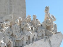 Henry leading the way. The monument of the discoveries, featuring henry the navigator, st. ferdinand, and other important figures in the exploration period of Stock Photo