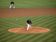 Henry Rodriguez throws pitch, ball in air Royalty Free Stock Photos