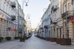 Henryka Sienkiewicza街在凯尔采,波兰的中心 库存图片