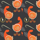 Hens and chickens pattern, vector illustration. Abstract hens and chicken on seamless pattern, vector illustration Royalty Free Stock Photo