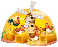 Hens and chicks on the hay. Illustration Royalty Free Stock Image