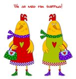 Hens. Fashion victims Stock Photography