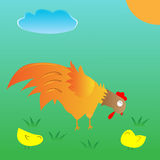 A Hens are feeding and two children. Royalty Free Stock Photos