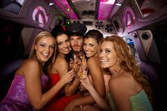 Hens night in limousine Royalty Free Stock Image